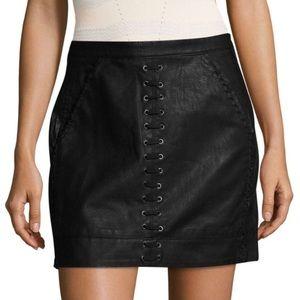 BLANK NYC - Leather moto lace up skirt black, XXS
